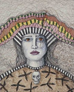 'Dark Charm' 41 x51cm Freehand Machine embroidery on canvas