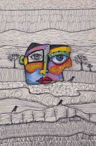 'Inside Story' 46 x31 cm Freehand Machine embroidery on canvas