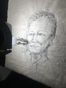 Cheryl Bridgart's live embroidery of His Excellency the Honourable Hieu Van Le AC